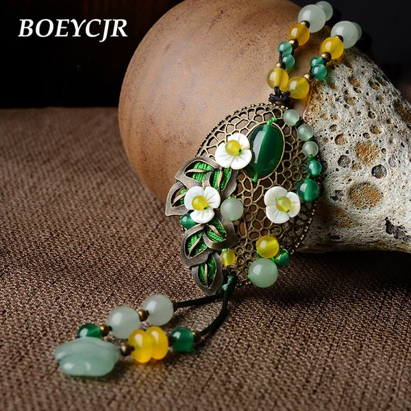 dhgate Ethnic Colorful Natural Stone Necklace Handmade Fashion Jewelry Rope Chain Vintage Pendant Necklace for Women 2018
