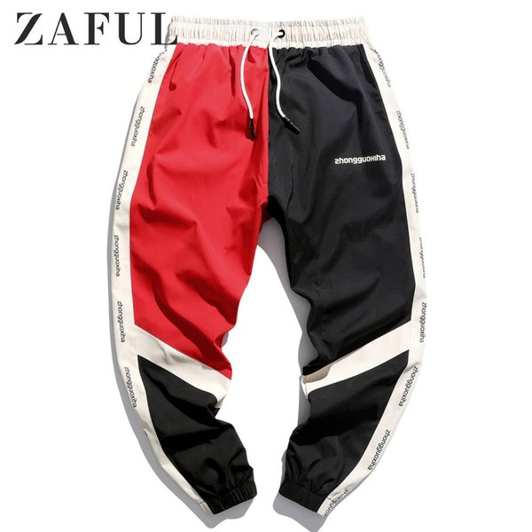 zaful men contrast color spliced joggers letter graphic print drawstring fashions streetwear baggy casual male joggers pants