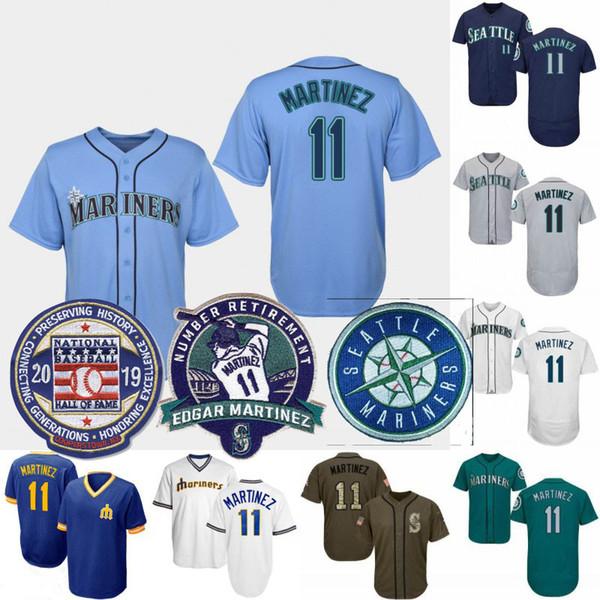 Mens Seattle 11 Edgar Martinez Número Grande e Alto Removal Remendo 2019 Baseball Hall Da Fama Mariners Camisas de Beisebol Tamanho XS-6XL