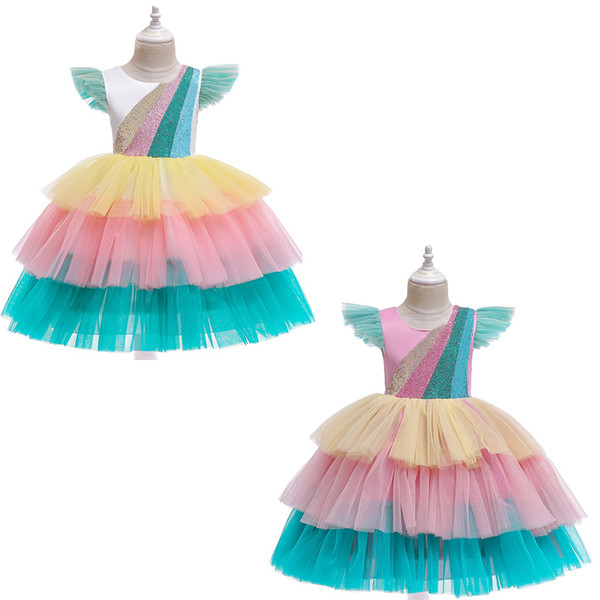 2 styles Fashion Colorful Girls Dresses Sequin Lace princess dress Pageant Party Formal Performance dress for Summer LA182