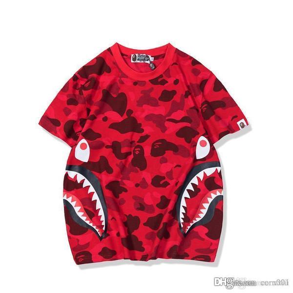 2019 estate nuovo giapponese popolare logo camouflage dente modello giovani uomini e donne commercio all'ingrosso manica corta