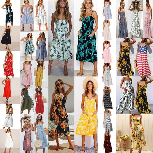 2019 Women Sling Dress Bohemia Stylish Flower Printing Sexy Back-Exposed Suspender Dresses Summer Beach Female Gown With Pockets sunflower