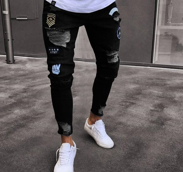 2019 Moda Erkek Pantolon Tasarımcı Erkek Rozet Nakış Jeans Mens Sıkıntılı Fermuar Delik Pantolon Stretch İnce Jeans 3 Renkler