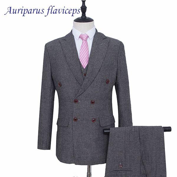 Grey Harringbone Man Suit Tweed Groom Tuxedos Double Breasted Blazer for Groomsman Suit Tailor Wedding Jacket+pants+vest