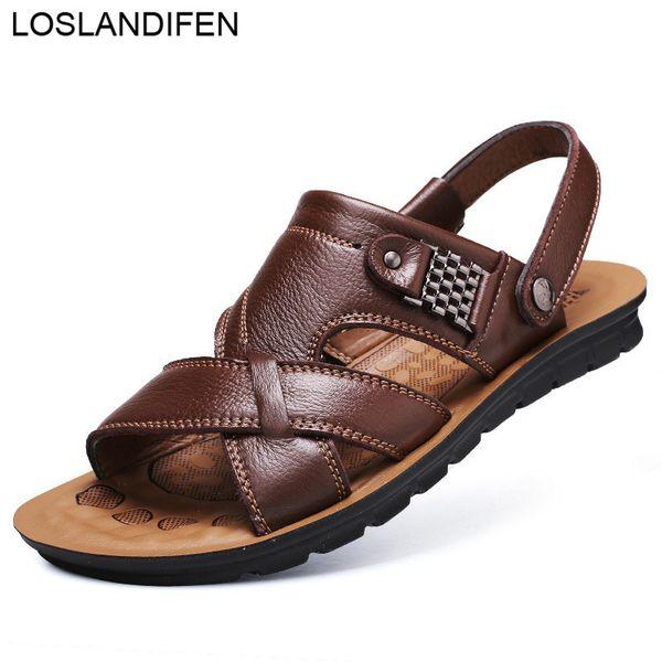Мужские сандалии из натуральной кожи с мягкой подошвой повседневная обувь удобные пляжные сандалии на открытом воздухе обувь Летняя мужская тапочка плюс размер 39-44