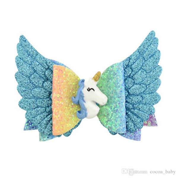 Korean Kids Hair bows Angel Wing Hairpins Baby girl hairclips Cartoon unicorn Shiny Glitter Hair Clips Kids Princess Hair AccessoryDHL