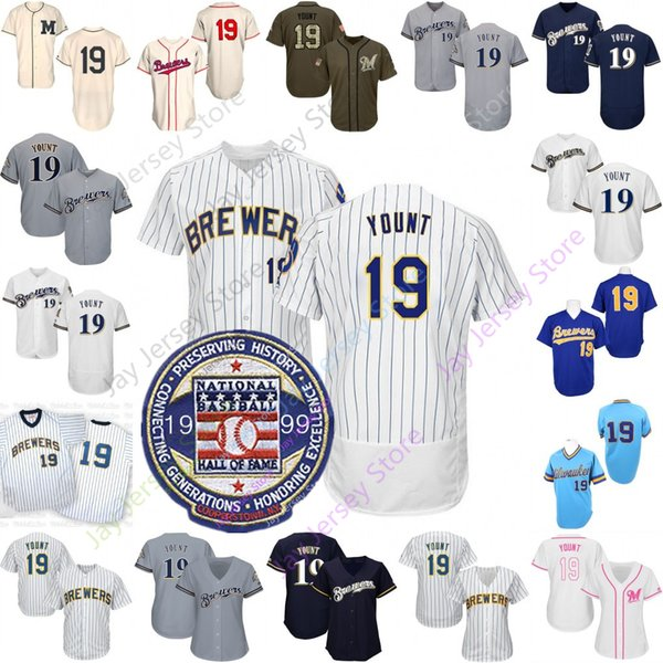 new styles a5860 67a05 2019 Robin Yount Jersey Cooperstown Cool Base Brewers With 1999 Hall Of  Fame Patch Milwaukee Baseball Jerseys Men Women Youth Kid Home Away From ...