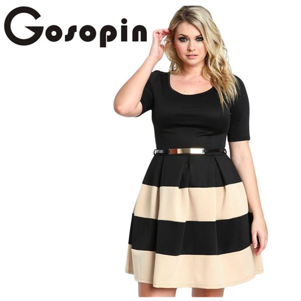 Big Girl 3xl Casual Autumn Short Sleeve Apricot Stripes Detail Belted Plus  Size Skater Dress Vestido De Festa Lc22806 Y190426 Cute Red Party Dresses  ...