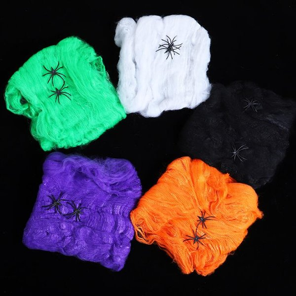 Halloween Scary Party Scene Props White Stretchy Cobweb Spider Web Horror Halloween Decoration For Bar Haunted House DHL Free