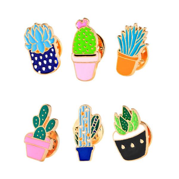 Belle Bande Dessinée Succulentes En Plante Plante Cactus Broches Pins Chemise Denim Veste Pin pour Femmes Enfants cadeau émail Broches Épinglette