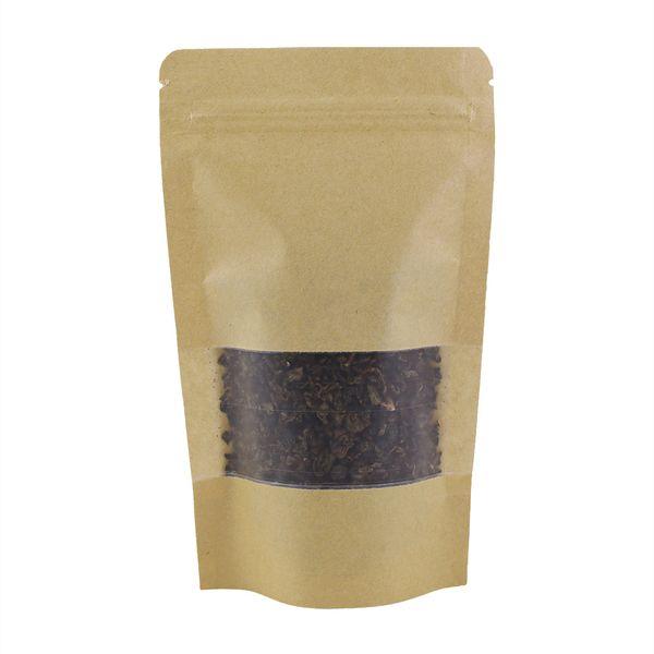 100Pcs / Lot Gıda Çay Snack için Yukarı Açılıp kapanabilir kağıt ambalaj torbası Kavisli Köşe kahverengi kraft kağıt torba Kilitli Standı 12x20cm