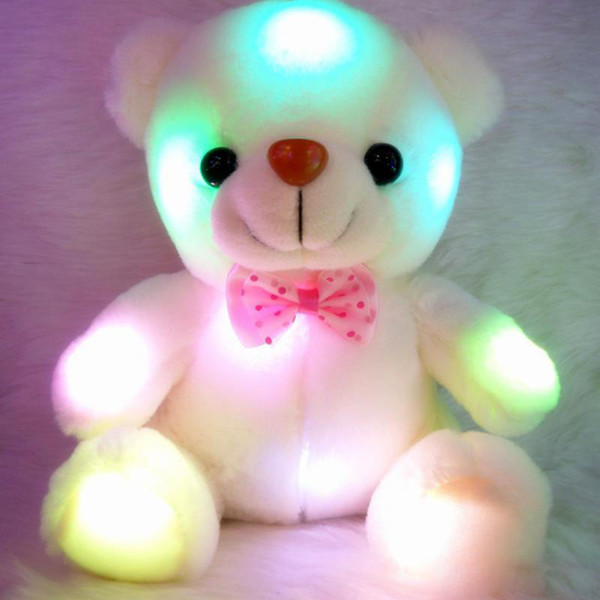 Colorido LED Flash Light Bear Doll Felpa Animales Juguetes de peluche Tamaño 20 cm - 22 cm Oso Regalo para niños Regalo de Navidad Peluche relleno