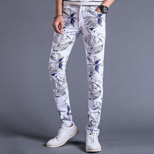 ORINERY Vendita calda Jeans stampati floreali Uomo Jeans bianchi elastici di alta qualità Pantaloni lunghi in denim da uomo casual skinny