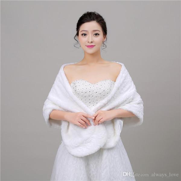 2019 Cheap Winter Faux Fur Bridal Wedding Wrap Cape Shawl Jackets Coat Bolero Tippet Stole for Wedding Party PJ046