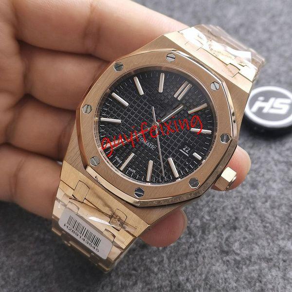 Hohe qulity mens Luxusuhr Royal Oak 15400 15400ST 15407OR schwarzes Zifferblatt Everose Edelstahlarmband Automatik-Uhrwerk wasserdicht 50M