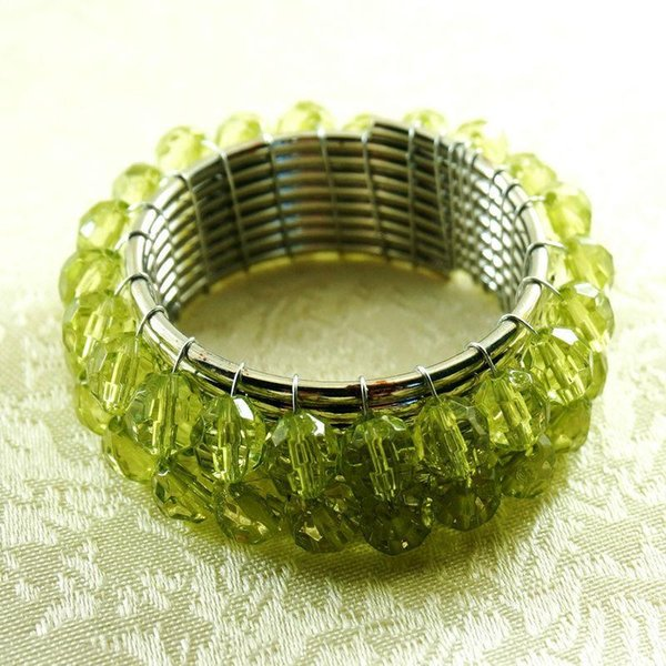green crystal beaded napkin rings, wedding decoration napkin holder