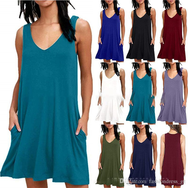 8 Color Women Mini Dress Summer Sleeveless Solid Color V-Neck Pocket Casual Daily Tank Dress Cover up Plus Size Plaid Pleated DHL Free