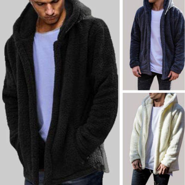 top popular 2018 Fashion Mens Winter Teddy Bear Pocket Fluffy Coat Fleece Fur Outerwear Hoodies 2021