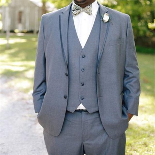 Elegant Light Grey Men Suit Gentlemen Wedding Tuxedos For Bridegroom Best Men Party Tuxedos suits 2019 (Jacket+Pants+Vest+Tie)