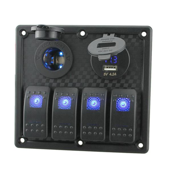 Freeshipping 12V-24V 방수 4 갱 스위치 패널 주도 로커 스위치 패널 담배 라이터 소켓 듀얼 USB 포트 Voltmeter
