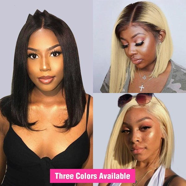 13x6 lace front wig for black women straight brazilian blonde human hair wig short bob ombre lace frontal wig