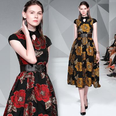 Fashionable Women's Jacquard Runway Dresses,Short Sleeve Stand Collar Ratro Body Sliming Midi Dress,Spring and Summer