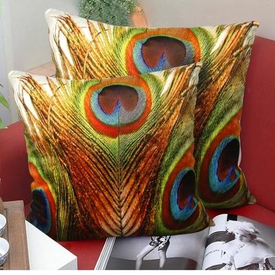 Peacock Feather Cushion Covers 45X45cm High Level 3D Luxury Pillows Covers Throw Pillows Cases Sofa Chair Decor