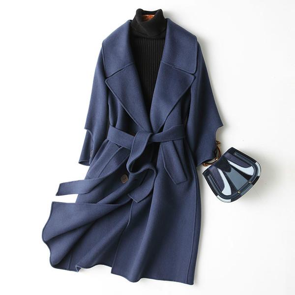 Wollmantel Frauen doppelseitige lange Jacke koreanischen Frühling Herbst Damen Mäntel und Jacken Abrigo Mujer 2019 KQN37125-3 KJ2322