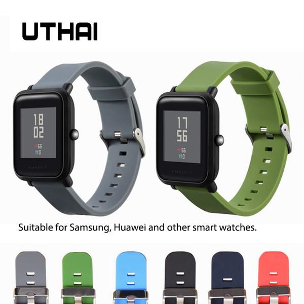 Uthai P35 Silicone Watch Strap 18 milímetros 20 milímetros 22 milímetros Assista bracelete Samsung 360 Huawei inteligentes Sports