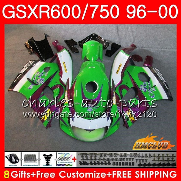 Body For SUZUKI SRAD GSXR-600 GSXR750 Green CORONA 1996 1997 1998 1999 2000 1HC.53 GSX-R750 GSXR 750 600 GSXR600 96 97 98 99 00 Fairing kit