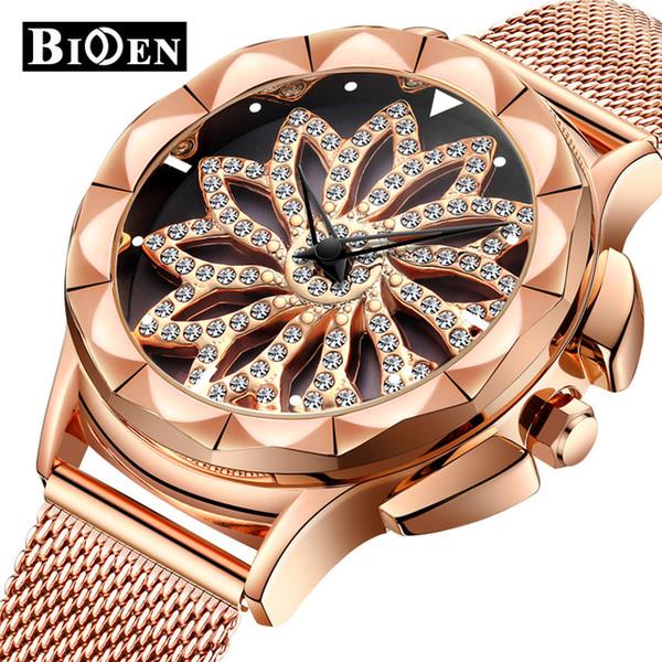 BIDEN Cristal de lujo de oro rosa Reloj de las mujeres Rhinestone lleno Dial de acero Diseño Banda de malla de acero Vestidos impermeables Reloj de dama