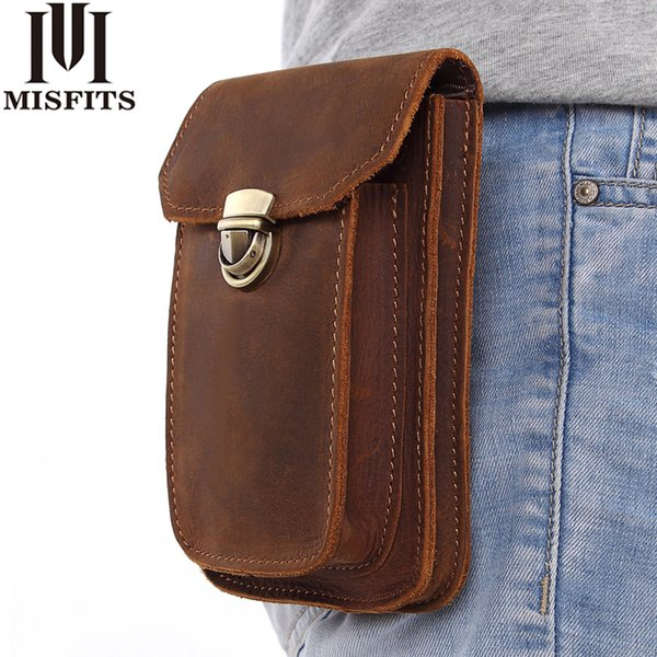 MISFITS 2018 NEW Genuine Leather Vintage Waist Packs Men Travel Fanny Pack Belt Loops Hip Bum Bag Waist Bag Mobile Phone Pouch