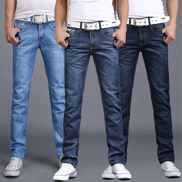 Fashion Light Blue Skinny Jeans Men Cotto Breathable Casual Denim Pants For Men Slim Fit Jeans