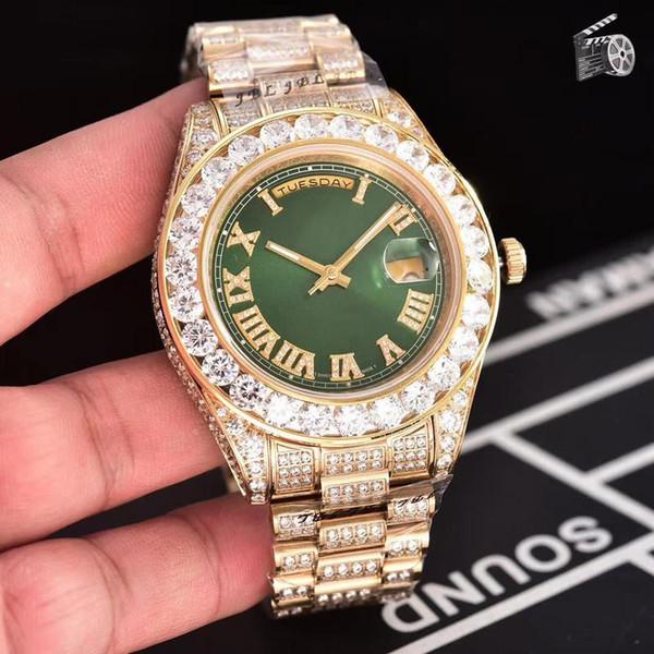 Top-Qualität Diamant automatische Luxusuhr Oyster Perpetual Self-Wind 45MM Herrenuhren Armbanduhren vereist Uhr Montre de Luxe