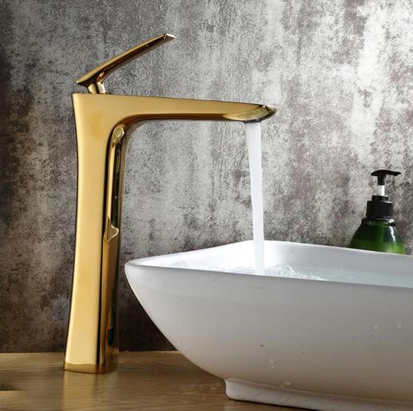 Grifería de latón dorada de lujo para baño, grifería de una manija, grifo de agua fría y caliente, grifo de lavabo alto