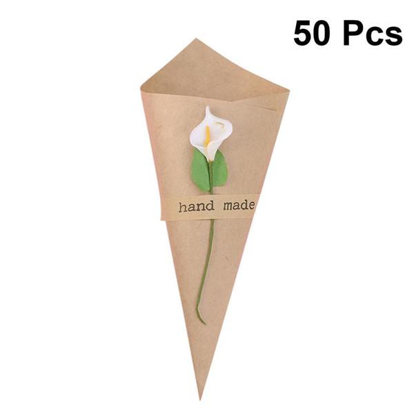 50pcs fai da te fatti a mano di carta kraft scatole di caramelle con fiore bianco coni gelato gelato tavolo da sposa regalo scatola regalo