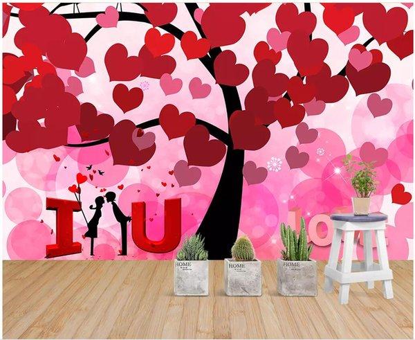 3d Wallpaper Custom Photo Romantic Warm Love Tree Love Love Wedding Decorations Room Background 3d Wall Murals Wallpaper For Walls 3 D Mobile