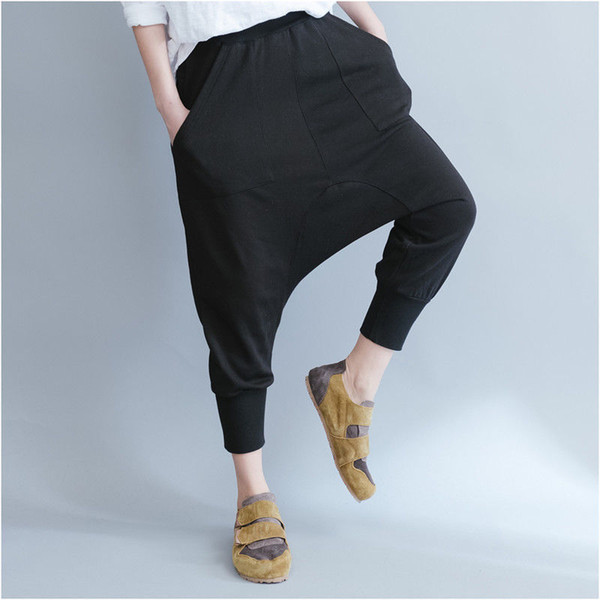 Womens Ladies Cotton Drop Low Crotch Harem Pants Trousers Baggy Lagenlook Pants