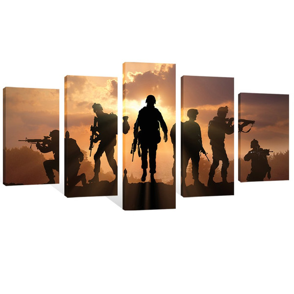 5 Pieces Modern Canvas Painting American Soldiers Picture Prints On Canvas Stretched and Framed Giclee Artwork For Home Decor Ready to Hang