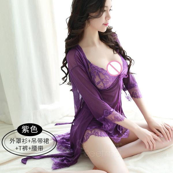 2018 preto / roxo / vermelho / rosa Chegada Nova Verão Lady Sexy Silk Lace Lingerie V profundo Erótico Tentação Sling Pijamas deslizamentos completa