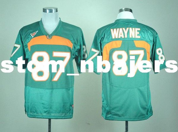 Cheap custom Miami Hurricanes Reggie Wayne #87 Green College Football Jersey Stitched Customize any number name MEN WOMEN YOUTH XS-5XL