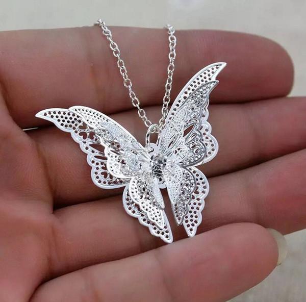 Новые моды для женщин тонкой выдалбливают бабочка ожерелье женщин ювелирные изделия яркий серебряный кулон ожерелья