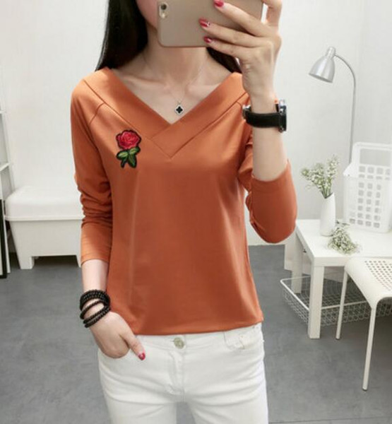 19ss New listing women V-Neck Tshirt pure cotton Long sleeve Tops High Quality T shirt For Women Clothes Casual Rose embroidery clothing