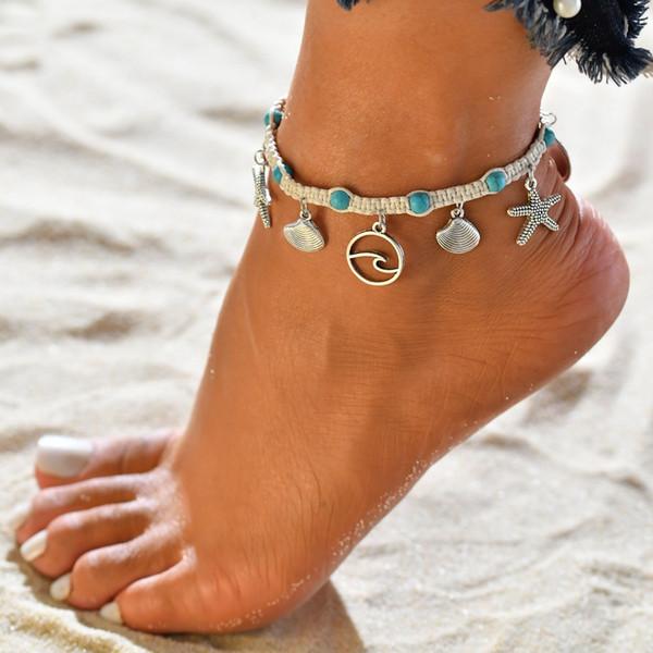 Богемный Серебряный Веревка Shell Starfish Подвеска Браслеты Урожай Ручной Ножной Браслет для Женщин