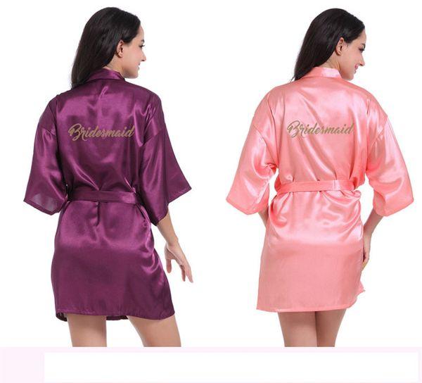Saten Düğün Kimono Altın Robe pijamalar nedime Elbiseler Pijama Bornoz Gecelik Spa Gelin Elbiseler Elbise Giyinme nedime