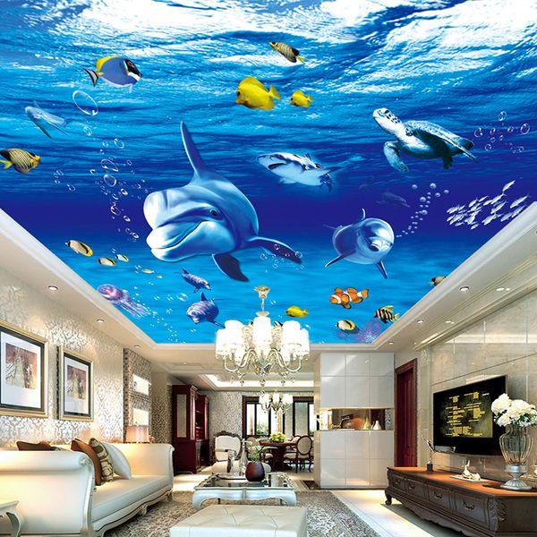 Papel De Parede 3D Modern Cartoon Underwater World Dolphin Photo Ceiling Mural Wallpaper Living Room Kids Bedroom Ceiling Fresco