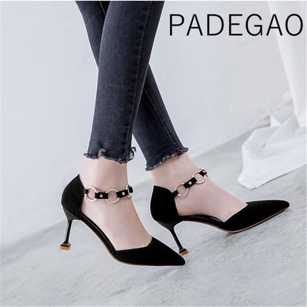 2019 Nova Chegada das Mulheres Gatinho de Salto Alto Sapatos de Luxo Apontou Toe Matal Sapatos Elegantes