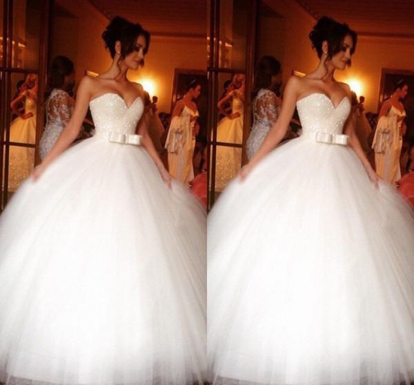 Cristal scintillant robes de mariée en tulle robe de bal chérie pas cher chérie tulle ruban plissé noeuds train train Corset retour mariage robes de mariée