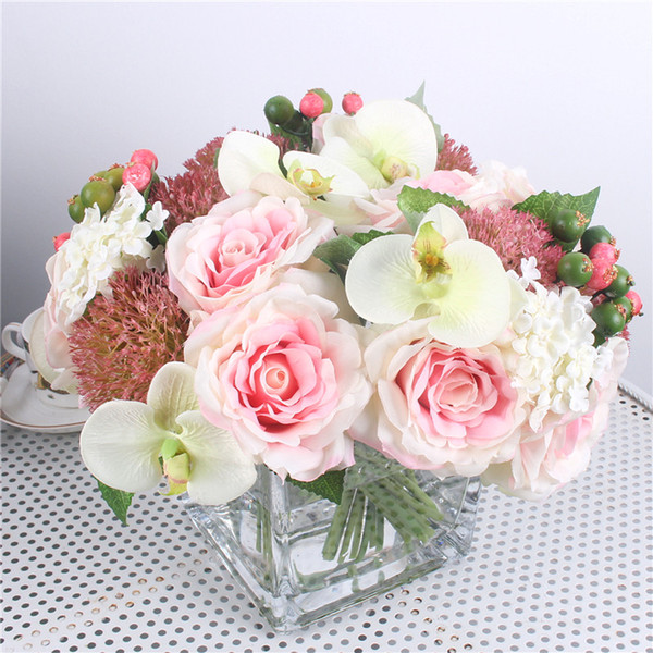 2019 Mix Hydrangea Orchid Silk Artificial Roses Flowers Bridal Bouquet Diy Wedding Home Table Room Decor Fake Peony Flores Artificiales From Yiyu Hg