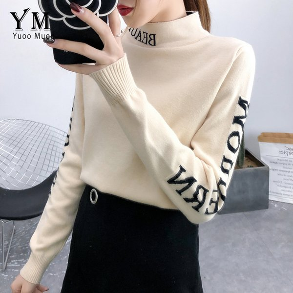 YuooMuoo Letters Long Sleeve Knitted Sweater Women 2019 New Good Quality Thick Winter Tops for Women Casual Turtleneck Pullover